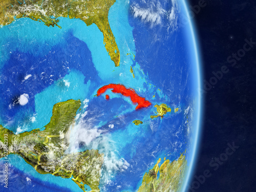 Cuba on planet planet Earth with country borders Wallpaper Mural