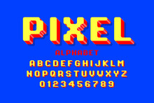 Pixel Font, 3d Retro Video Game Style Alphabet Letters And Numbers