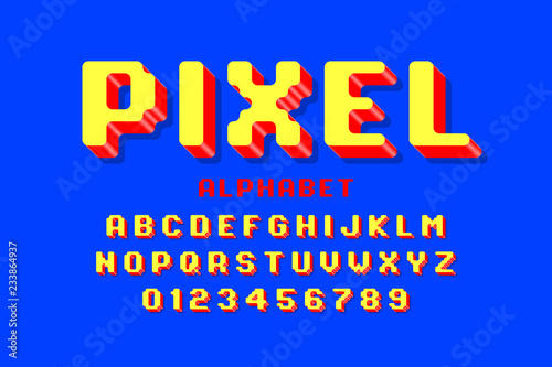 Pixel font, 3d retro video game style alphabet letters and