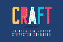 Stitched Font, Running Stitch, Alphabet Letters And Numbers