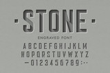 Fototapeta Kamienie - Engraved on stone font, alphabet letters and numbers