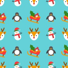 Christmas Seamless Pattern Theme, For Use As Wallpaper Or Wrapping Paper Gift