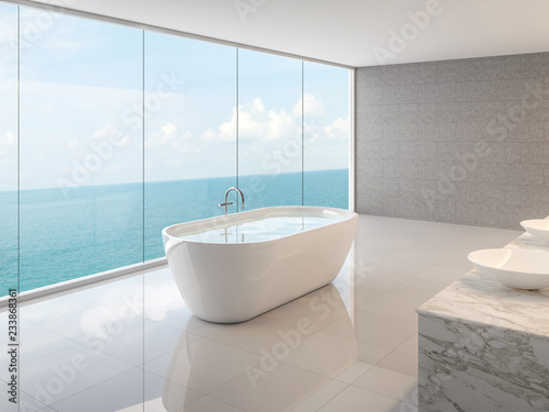 Minimal loft bathroom 3d render,There are white floor,concrete tile walll and round bathtub,There are large frameless glass window overlooking to full sea view Fototapet