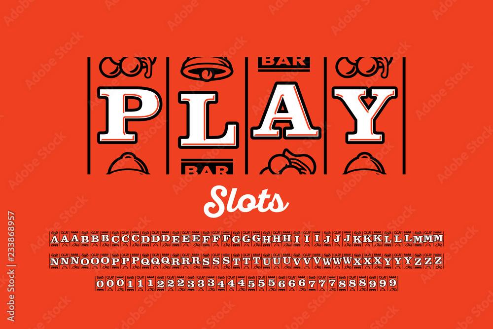 Fototapeta Slot machine style font, triple sevens jackpot alphabet letters and numbers