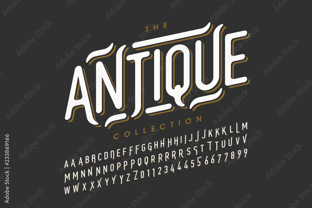 Fototapeta Antique style font design, vintage alphabet letters and numbers