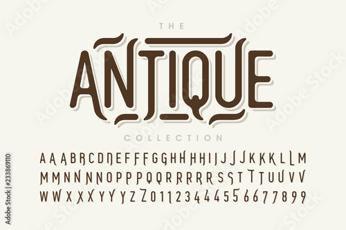 Antique style font design, vintage alphabet letters and numbers Canvas Print