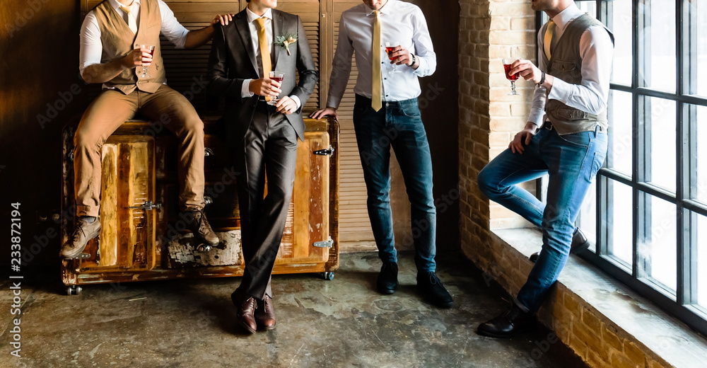 Fototapety, obrazy: Group of handsome elegant young men