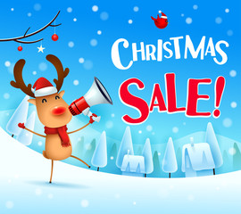 Christmas Sale! The red-nosed reindeer with megaphone in Christmas snow scene winter landscape.
