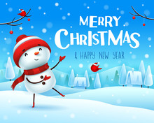 Merry Christmas! Cheerful Snowman Greets In Christmas Snow Scene Winter Landscape.