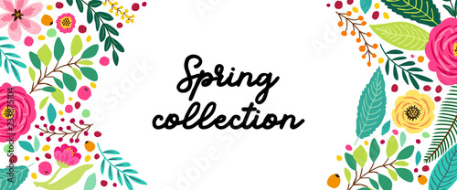 Carta da parati Cute Spring Flowers horizontal banner