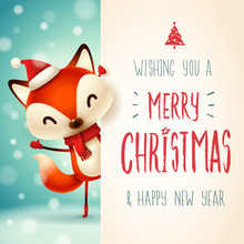 Cute Little Fox With Big Signboard. Merry Christmas Calligraphy Lettering Design. Creative Typography For Holiday Greeting.