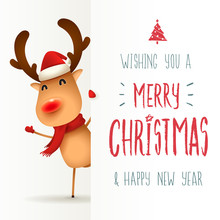 The Red-nosed Reindeer With Big Signboard. Merry Christmas Calligraphy Lettering Design. Creative Typography For Holiday Greeting.