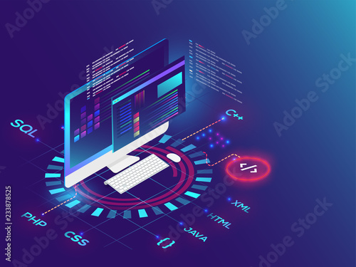 Fotografie, Obraz  3D illustration of desktop with different programming language on futuristic background for Coding and Programming concept