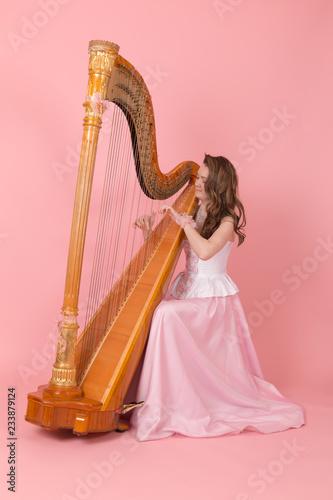 Stampa su Tela girl playing the harp