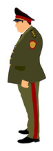 Soviet Army Officer In Uniform Vector Illustration. Russian General Marshal Profile Vector. Soldier In Uniform. Military Commander. Marsh Officer In A Ceremonial Procession. Military Parade.