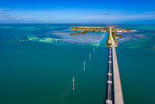 Key West Island Florida Highway And Bridges Over The Sea Aerial View