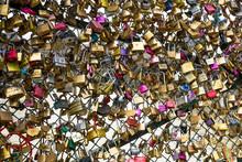 Love Locks Hanging In The Pont Neuf, Ile De La Cite, Paris, France.