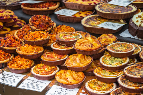 Assortment of tarts on display at Broadway Market in Hackney, East London