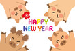 猪 家族 happy new year
