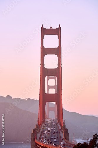 Staande foto Amerikaanse Plekken Golden Gate Bridge at sunset, San Francisco, California
