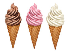 Strawberry, Vanilla And Chocolate Soft Ice Creams Or Frozen Yogurt In Cone Isolated On White Background