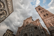 Florence Cathedral, Santa Maria In Fiore, Enlightend By Sunset Light, Part Of The Unesco World Heritage, With Its Famous Giotto Belltower., Florence, Tuscany, Italy