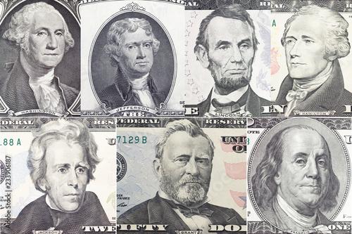 Photo  American presidents set  portrait on dollar bill