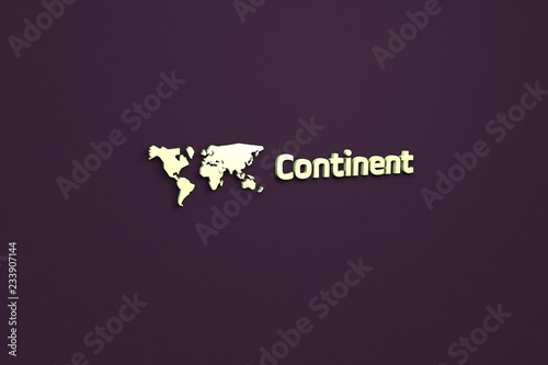 Fotografía  Text Continent with light-green 3D illustration and violet background