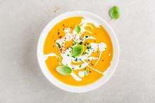 Pumpkin Creamy Soup Served In ...