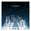 Winter night in Madrid. Night city in flat style for banner, poster, illustration, background.