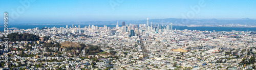 Staande foto Amerikaanse Plekken San Francisco skyline from Twin Peaks, panorama view, California, USA