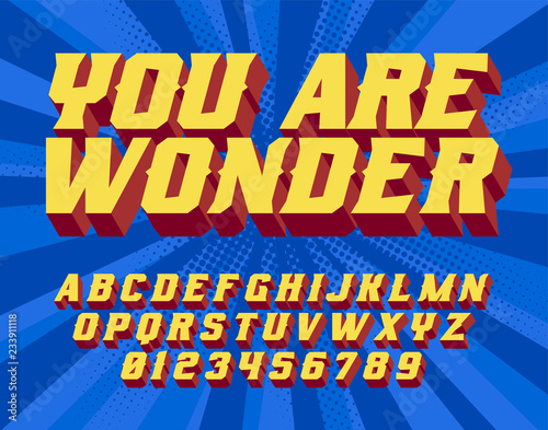 Fotografía  You are wonder Super Hero 3D vintage letters