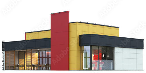 Foto op Aluminium Luchthaven 3d Rendering of a Fast food restaurant on white background.