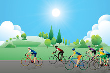 Cyclist Riding On The Road With Scenery Of Sunset On The Horizon Over The Sea Landscape. Vector Illustration Of Cycling Sport Concept