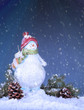 Holiday Snowman in a Snowy Night