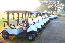 Golf Carts On A Beautiful Golf...