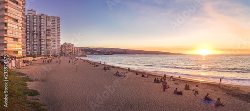 Fotografie, Obraz Panoramic view of Acapulco beach at sunset - Vina del Mar, Chile