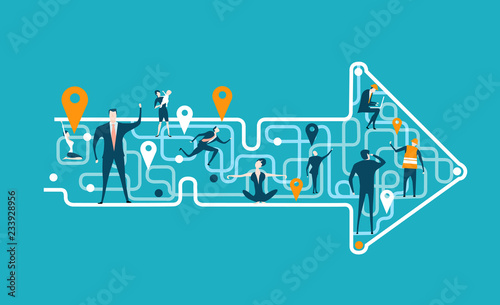 Arrow made of map lines with stop marks and people on that abstract locations, representing different area of life and business career Tableau sur Toile
