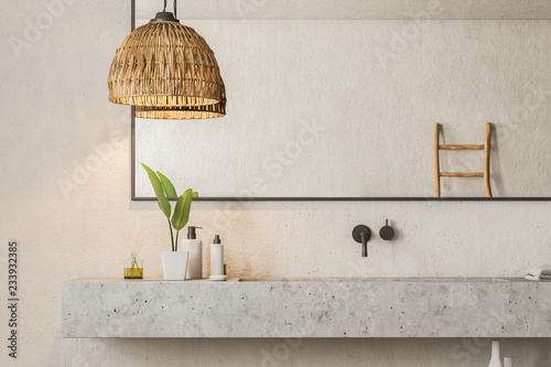 Fotografie, Obraz  Marble double sink in bathroom close up
