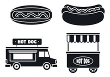 Hot Dog Sausage Icon Set. Simple Set Of Hot Dog Sausage Vector Icons For Web Design On White Background