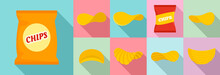 Chips Potato Icon Set. Flat Se...