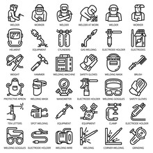 Welder Equipment Icon Set. Outline Set Of Welder Equipment Vector Icons For Web Design Isolated On White Background