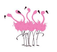 Flock Of Flamingos Vector Illu...