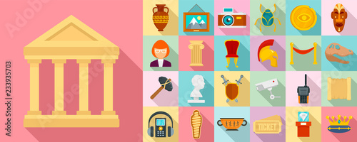 Museum icon set. Flat set of museum vector icons for web design Poster Mural XXL