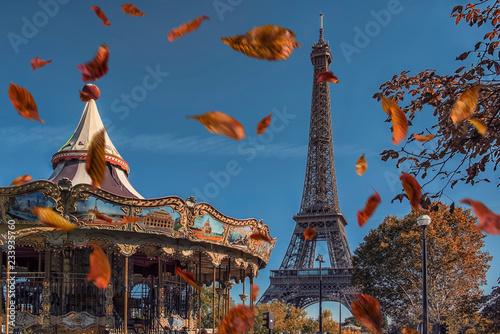 Fotografia  Leaves falling near the Eiffel tower in Paris