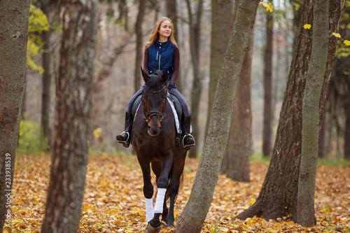 Pinturas sobre lienzo  Teenage girl riding horse in autumn park