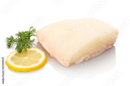 Fotografija Weißer Heilbutt Fisch Zitrone und Dill