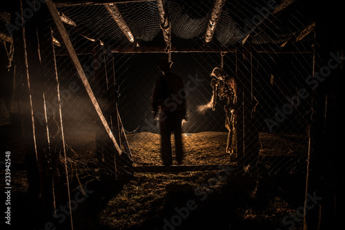 Horror view of hanged girl on tree at evening (at night) Suicide decoration Fototapeta