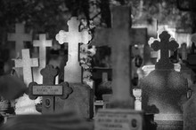 Marble And Stone Crosses In A Cemetery