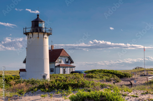 Staande foto Verenigde Staten Race Point Light Lighthouse in sand dunes on the beach at Cape Cod, New England, Massachusetts, USA.